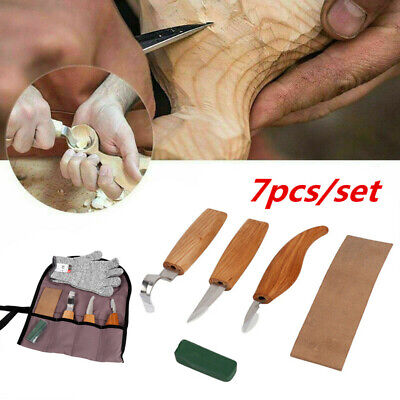 £16.83 • Buy 7PCS Wood Carving Chisel Knife Hand Tool Set Woodworking Whittling Cutter Kit