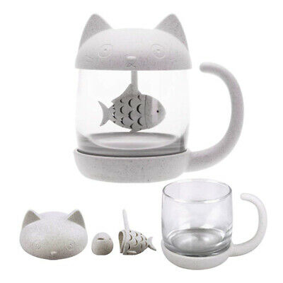Cat Glass Tea Mug Water Bottle-With Fish Tea Infuser Strainer Filter 250ML • 9.68£
