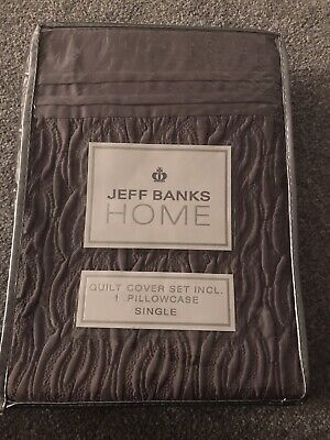 £27.99 • Buy JEFF BANKS Home Single Duvet Cover Bedding Set Pillow Case Iona Quilted Satin