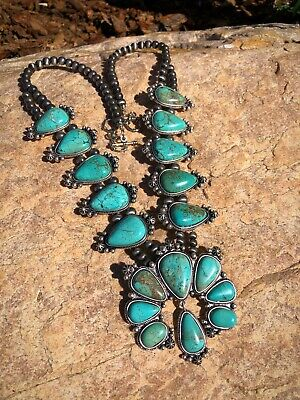 $ CDN308.29 • Buy Natural Turquoise Blue Green SQUASH BLOSSOM Naja Silver Necklace ++Turquoise
