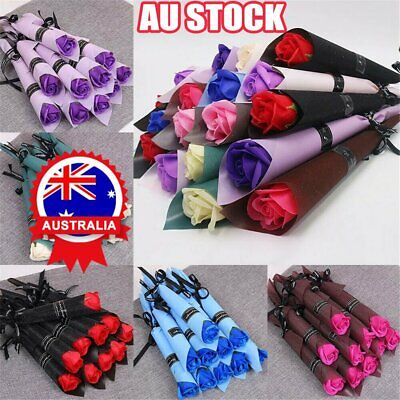 AU12.69 • Buy 10 Pcs Soap Rose Artificial Flower For Girlfriend Valentine's Day Gift Love AN