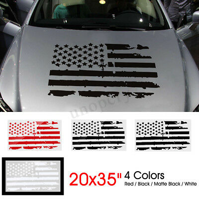 $10.31 • Buy 20''x35'' Car Truck US Flag Hood Vinyl Sticker Decal Cover On Engine Cover < #