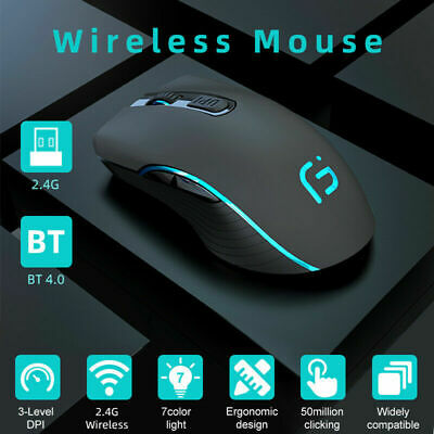 AU25.99 • Buy Wireless Bluetooth Mouse Rechargeable Dual Mode Silent Ergonomic For Laptop PC