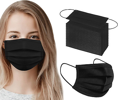AU9.90 • Buy Black Blue DISPOSABLE FACE MASK 3LAYER PROTECTIVE NON-SURGICAL CE CERTIFIED