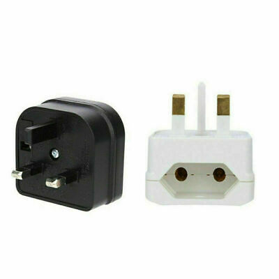 European 2 Pin To UK 3 Pin Plug Adaptor Euro EU Converter Mains Travel  Portable • 3.29£