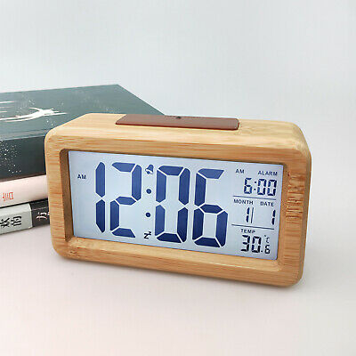 Digital Bedside LED Wooden Alarm Clock Time Temperature Day/Night Mode Clock UKდ • 14.39£