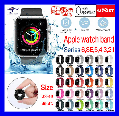 AU4.99 • Buy For Apple Watch Silicon Wrist Band Strap Series SE 6 5 4 3 2 1 38 40 42 44mm