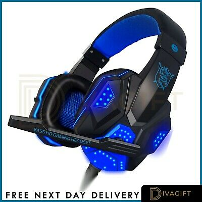 £18.65 • Buy Gaming Headset For Xbox One PS4 PS5 Nintendo Switch PC 3.5mm Mic Headphones LED