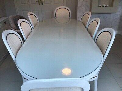 Beautiful Refurbished Shabby Chic French Oval Table With 8 Chairs (2 Carvers) • 895£