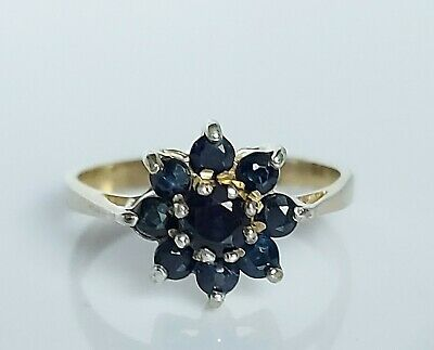 Beautiful Vintage 9ct Gold On Sterling Silver & Sapphire Cluster Ring UK Size L • 16£