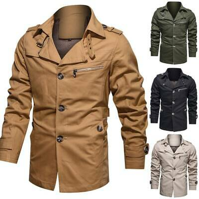 $48.44 • Buy Mens Single Breasted Lapel Military Style Jacket Fall Slim Fit Tops Coat Outwear