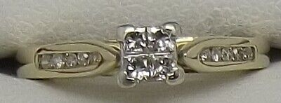 AU354 • Buy Solid 9ct Yellow Gold Natural Diamond Dress/engagement Ring - Size L
