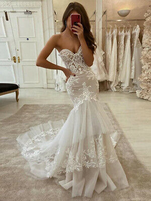$ CDN143.97 • Buy Vintage Ivory Mermaid Lace Appliques Wedding Dresses Strapless Princess Custom