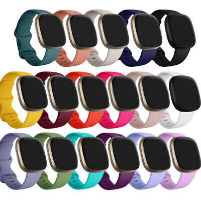 $ CDN3.75 • Buy For Fitbit Versa 3 /Fitbit Sense Silicone Watch Band Wristband Replace Strap S/L