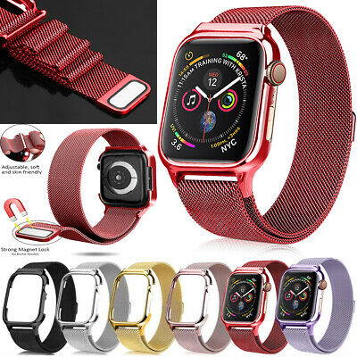 AU12.61 • Buy For IWatch Band Series 6543 Magnetic Milanese Loop Watch Straps With Metal Case