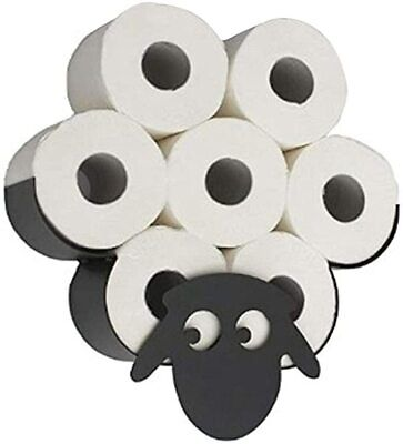 AU43.99 • Buy Metal Sheep Toilet Paper Roll Holder Stand Storage Bathroom Organizer Black
