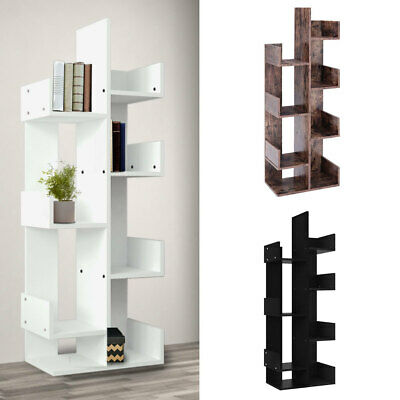 Modern 8 Tiers Book Shelves Wooden Bookcase Storage Stand Unit Plant Pot Display • 75.54£