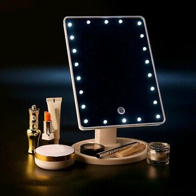 22 LED MAKE-UP VANITY MIRROR Tabletop Light Up Touch Screen Cosmetic Bathroom UK • 8.53£