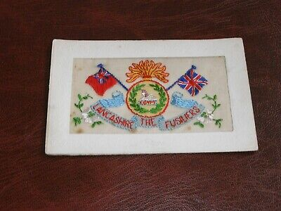 Original Wwi Embroidered Silk Postcard - The Lancashire Fusiliers. • 9.50£