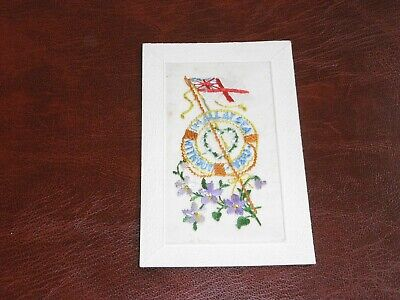 Original Wwi Embroidered Silk Postcard - I'm All At Sea Without You, Flag. • 6.99£