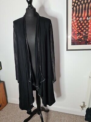 Black Waterfall Cardigan With Leather Sleeves Size S/M • 3.50£