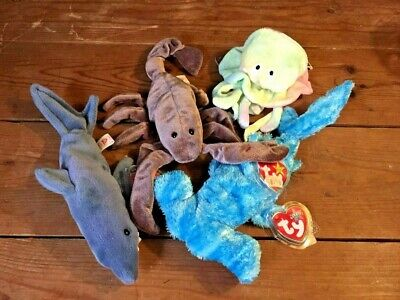 4 X Ty Beanie Babies. Sea Creatures. Sledge, Crunch, Goochy And Stinger. Tags. • 12£