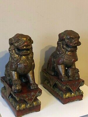 Stunning Pair Of Vintage Carved Chinese Foo/temple Dogs, Gold /red Decoration • 32£