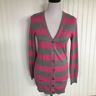 Lacoste Cardigan Sweater Womens Sz 38 Small Gray Pink Striped V Neck Button  • 36.14£