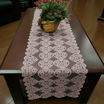 £4.04 • Buy Pink Vintage Lace Table Runner Mats Wedding Party Valentines Day Decor 36x183cm