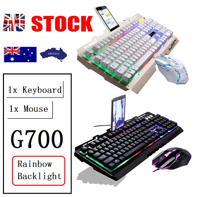 AU27.29 • Buy PC Laptop Gaming Keyboard And Mouse Set Wired USB LED Combo Bundles Xbox ONE 360