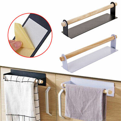 Kitchen Wall Mounted Fixing Towel Holder Self Adhesive Roll Paper Storage Rack • 5.99£