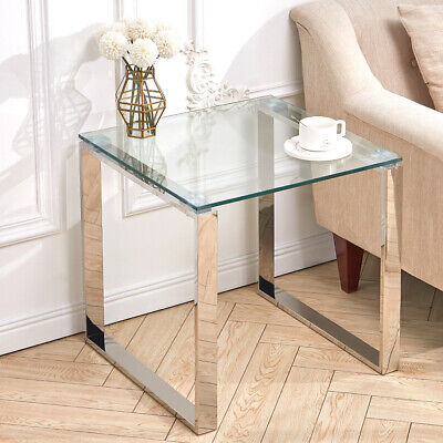 Square Glass Coffee Table Tempered Glass End Side Table Living Room Chrome Legs • 75.95£