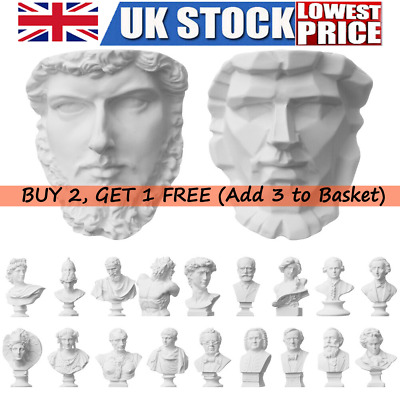 Famous Sculptures Plaster Bust Statue Greek Mythology Figurine Gypsum Portraits • 4.07£