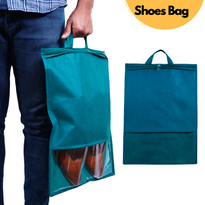 Green Shoe Bag, Large Non-Woven Drawstring Shoes Storage Bags With Transparent  • 4.99£