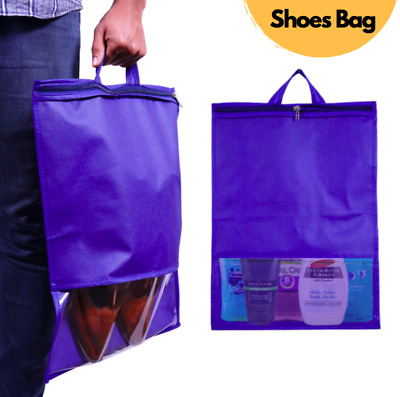 Blue Shoe Bag, Large Non-Woven Drawstring Shoes Storage Bags With Transparent  • 4.99£