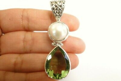 $79 • Buy Green Amethyst Prasiolite White Mabe Pearl Two Stone 925 Sterling Silver Pendant