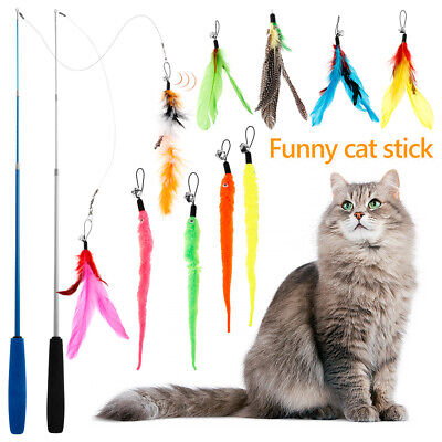AU13.99 • Buy 12PC Cat Toys Feather Wand Stick Wire Teaser Kitten Dangle Bell Interactive Play