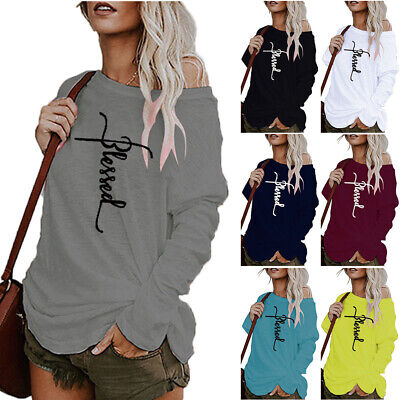 Ladies Off The Shoulder Sweatshirt Jumper Casual Pullover Blouse Tops Plus Size • 16.69£