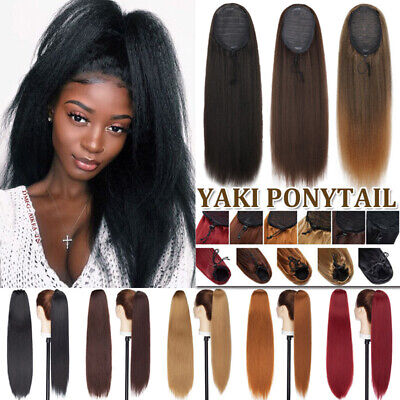 £11.55 • Buy Afro Kinky Curly Yaki Ponytail Clip In Hair Extensions Long Drawstring For Human