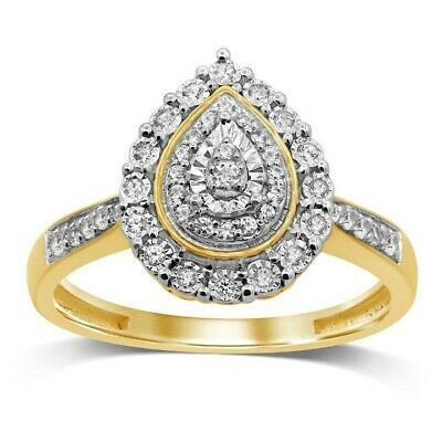 AU499 • Buy 9ct Gold Two Tonne Double Halo Pear Shape 1/5 Diamond Ring