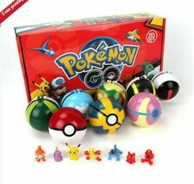 UK Child Gifts  12Pcs Toys Pokemon Pikachu Ball Set Pokeball Figures Kids  • 9.88£