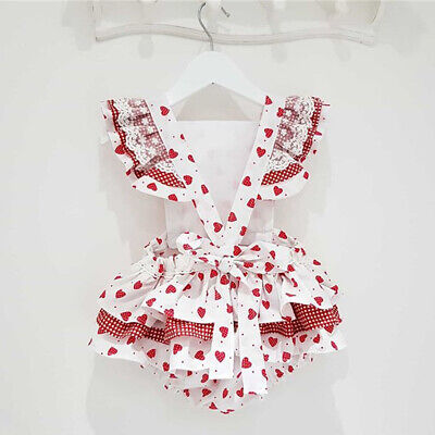 Newborn Infant Baby Girl Ruffle Heart Romper Jumpsuit Playsuit With Headband • 6.99£