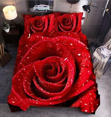 AU71.79 • Buy Valentines Day Duvet Cover 3D Rose Bedding Set Single Double Super King Size AU