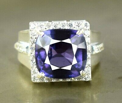 AU388.01 • Buy Cushion 11.78 Ct Natural Russian Alexandrite 925 Sterling Silver Unisex Ring