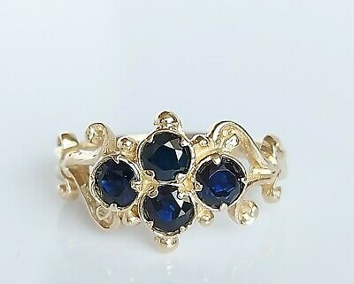 Beautiful Vintage 1976 9ct Gold & Sapphire Victorian Style Floral Ring UK Size I • 75£