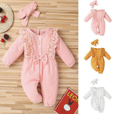 Newborn Baby Girls Lace Clothes Cotton Romper Jumpsuit Headband Ruffle Outfits • 9.99£