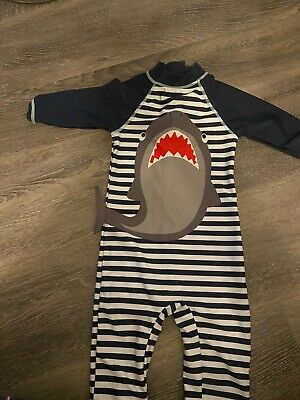 All In One Swim Suit Swimming 2-3 Y.o. Navy Shark UV Protect • 2.90£
