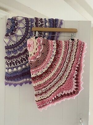 Two Handmade Crocheted Baby / Toddler Blankets In Pink And Purple • 11.50£