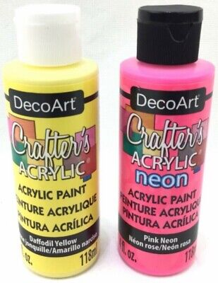 Deco Art Crafters Acrylic Paint Daffodil Yellow & Pink Neon 4oz Each Made In USA • 9.39£