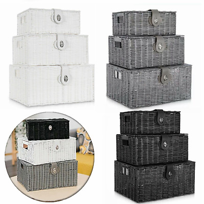 Set Of 3 Resin Woven Wicker Xmas Hamper Basket Storage Box With Lid&lock Gift Uk • 15.99£